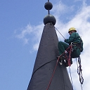 Industrial climbing, stationary metal construction cleaning and painting