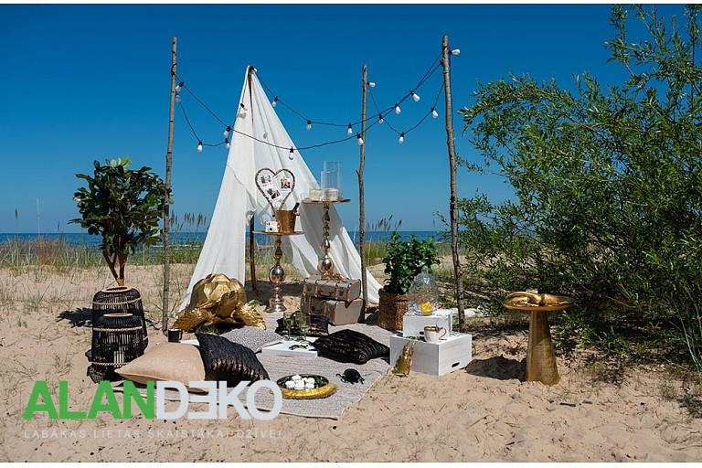 ALANDEKO aksesuāri atpūtai brīvā dabā segas spilveni pudeļu dzesētājs telts koka kastes galdiņi grozs dzērienu trauks