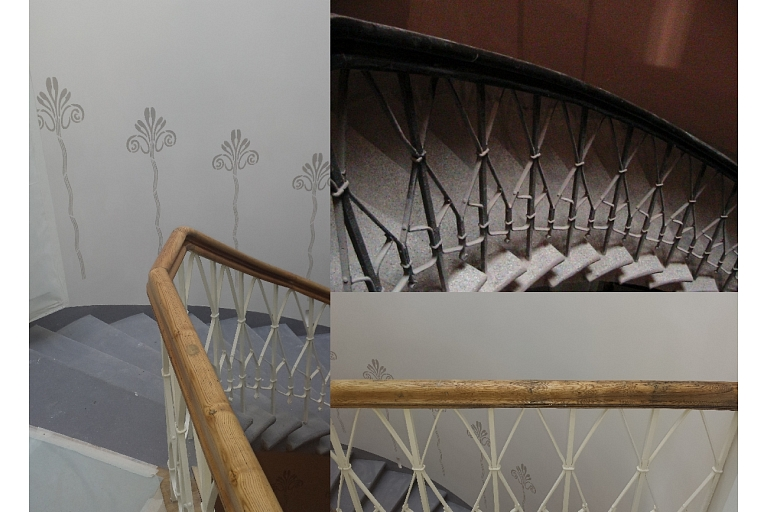 Steps and metal railing and wooden lath restoration and epoxy for stairs