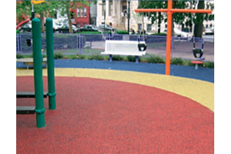 Rubber granule layers for children playgrounds