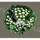 With flowers rich funeral wreaths