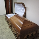 Funeral office. Coffin