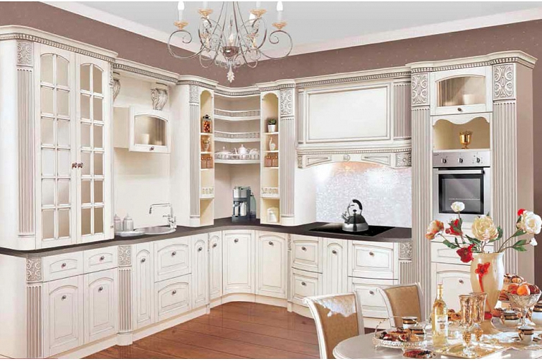 Natural wooden kitchen furniture ash