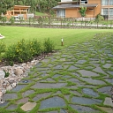 Paving and lawn interaction in garden