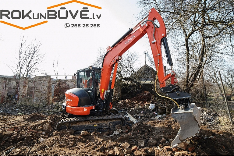 Excavator services, pond digging, building demolition Cesis, Valmiera, Vidzeme