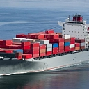 Sea transport. Container cargo transportation