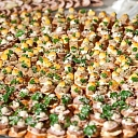 Buns on banquet table. Catering for parties, anniversaries, conferences
