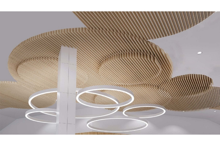 Acoustic suspended ceiling mounting lv