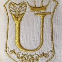 Embroidery with metallic gold threads