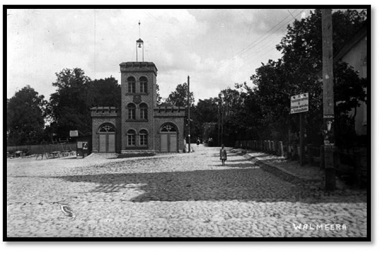Pirmais ugunsdzēsēju depo Valmierā, vietā kur tagad atrodas Valmieras pilsētas pašvaldība.