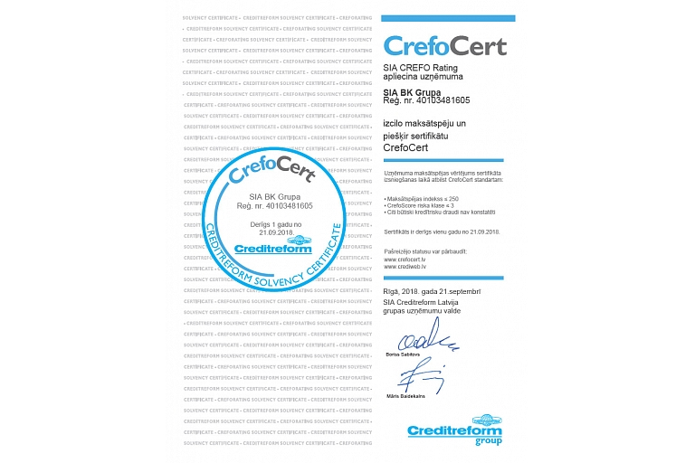 Bk group excellent solvency certificate