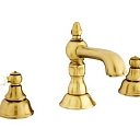 Retro style faucets with porcelain accents.