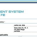 Vadības sistēmas sertifikāts