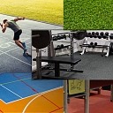 Floor coverings (Floor coverings for gyms, multifunctional floor coverings, grass imitation)